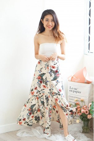 Reckless Romance White Floral Mermaid Tail Skirt