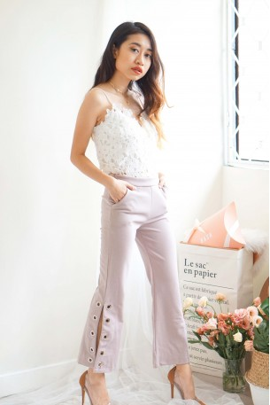 Take Me Seriously Flare Bottom Ring Pants in Mauve Pink