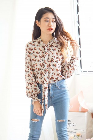 Lovers and Friends White Floral Button Down Top