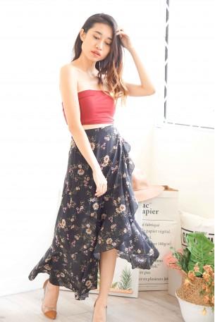 Flower Rain Black Chiffon Floral Skirt
