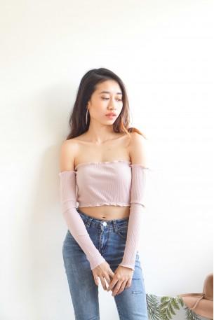 Bid You Goodbye Off Shoulder Top in Blush Pink