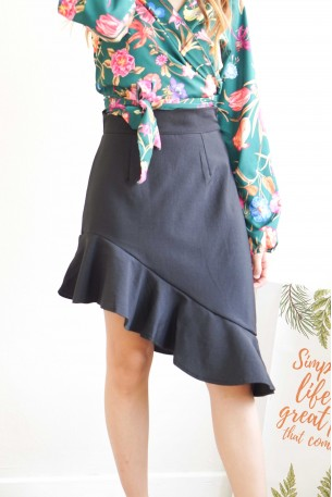 Conversation Starters Black Ruffles Skirt