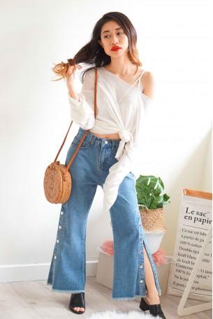 Twisted Ending Slit Jeans