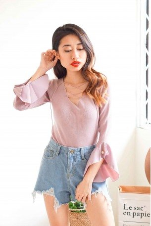 Crossing Paths Lace Up Top in Pink
