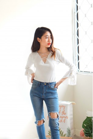 Crossing Paths Lace Up Top in White