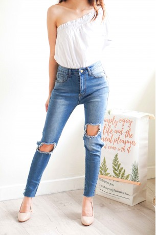 Hollow Heart Ripped Jeans