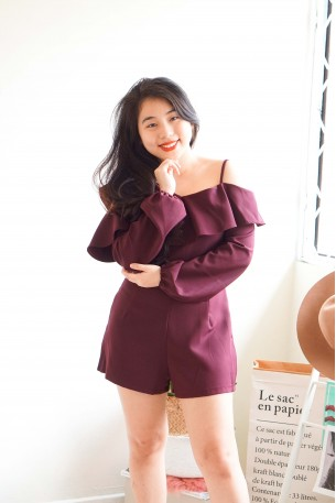 Out Dream Yourself Maroon Toga Jumpsuit