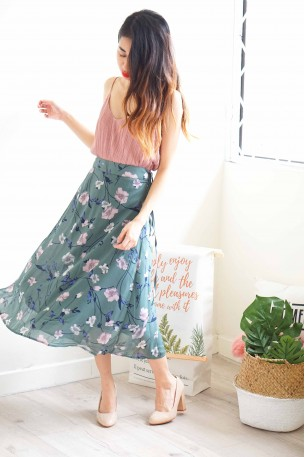 Didn't Need You Floral Self-Wrap Skirt
