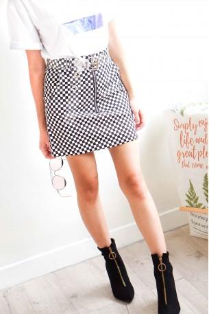 Check-mate Bodycon Zipper Skirt