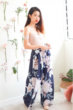 Wedding in Spring Blue Floral Culottes