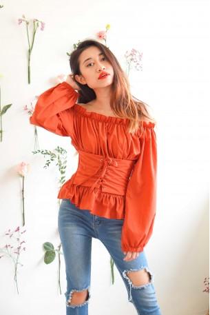 Oriental Girl Red Corset Off Shoulder Top