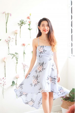 Humble Lady Blue Floral Crossback Dress