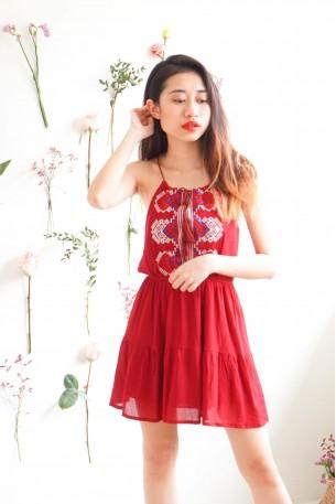 Echoes of Love Red Bohemian Tassel Dress
