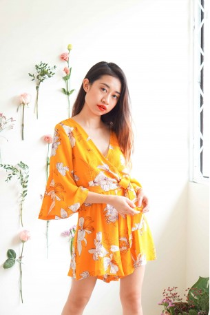 Garden of Lilies Yellow Floral Jumpsuit