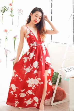 Angel's Heart Red Floral Crossback Maxi