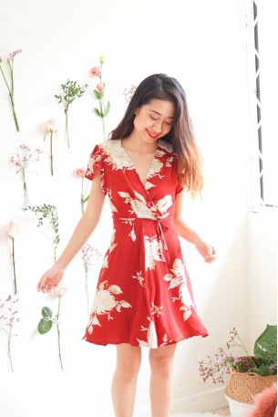 Good Intentions Red Floral Wrap Dress