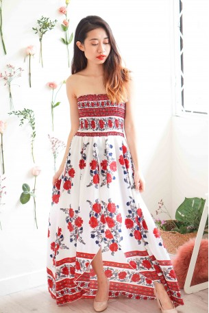 State of Art Red Floral Tube Dress