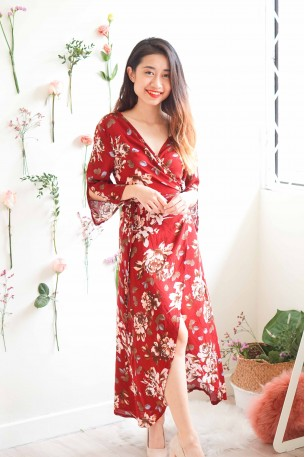 Sending Blessings Red Floral Wrap Dress