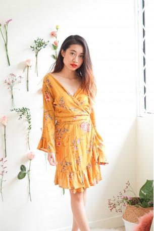 Give Me A Reason Mustard Floral Wrap Dress