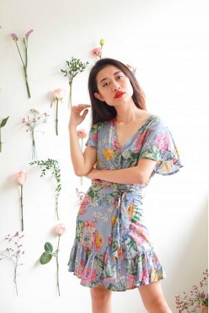 Love Ridden Blue Floral Wrap Dress