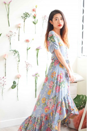 Love Spell Blue Floral Asymmetrical Maxi