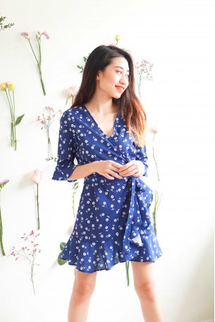 Daisy Morning Blue Floral Wrap Dress