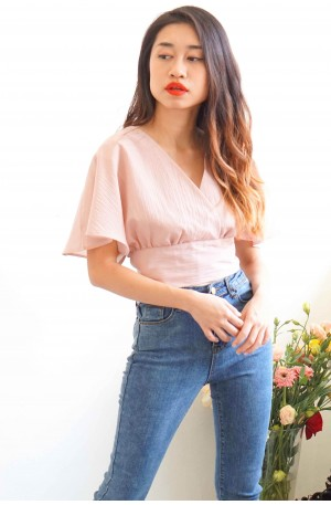 In-Between Days Flare Sleeves Top in Mellow Pink