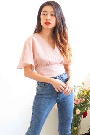 (BACKORDER) In-Between Days Flare Sleeves Top in Mellow Pink