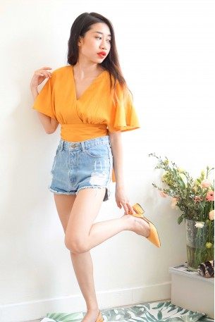 (BACKORDER) In-Between Days Flare Sleeves Top in Mustard Yellow