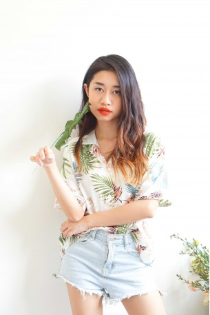 (BACKORDER) Sun and Palm Oversized Button Down Top
