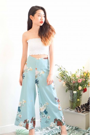 (BACKORDER) Everytime We Touch Turquoise Floral Culottes