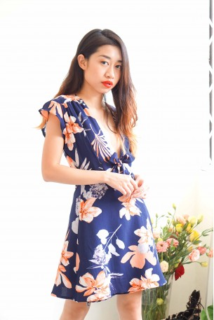 Rising Waves Blue Floral Tie Front Dress