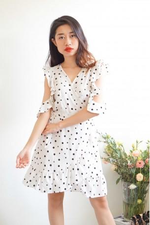 Flirty Tease Frills Sleeve White Polkadot Dress
