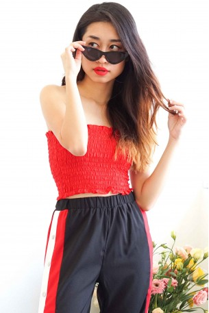 (BACKORDER) Fight Me Tube Top in Red