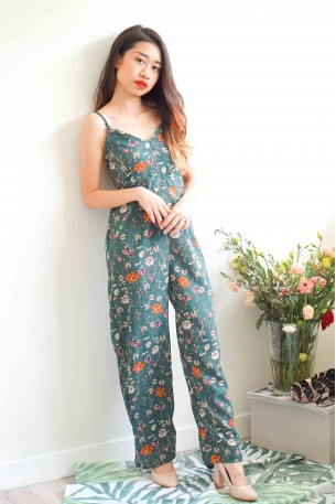 Hold Me Down Maxi Floral Jumpsuit in Forest Green