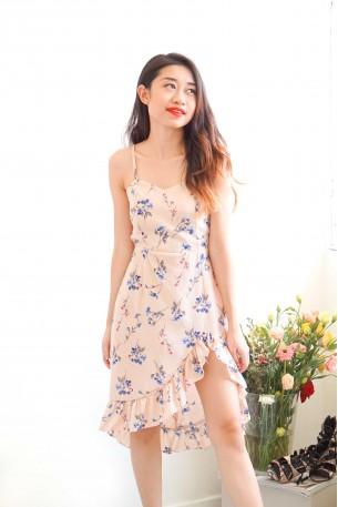 Dear Constance Floral Frills Dress in Pink