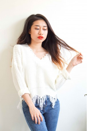 (BACKORDER) Love Wins White Ripped Sweater
