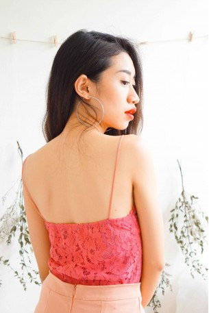 Ultra Fine Hot Pink Lace Top