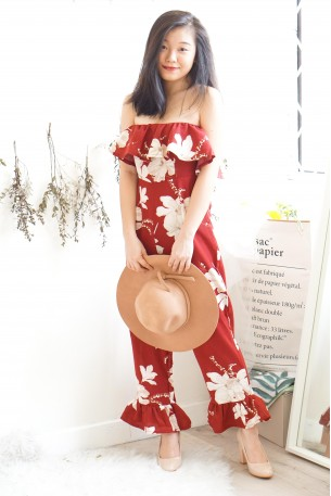 Dose of Love Red Floral Tube Jumpsuit