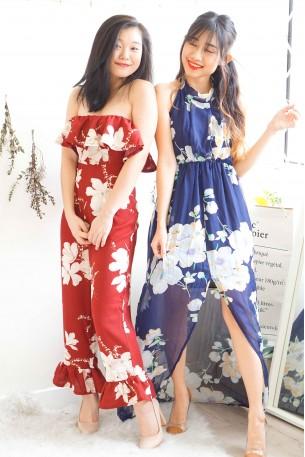 Dream of Me Blue Floral Halter Neck Backless Dress