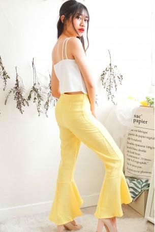 Walk The Talk Ruffles Pants in Yellow