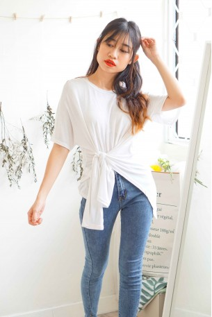 Twisted Beginning Oversized T- Shirt in White