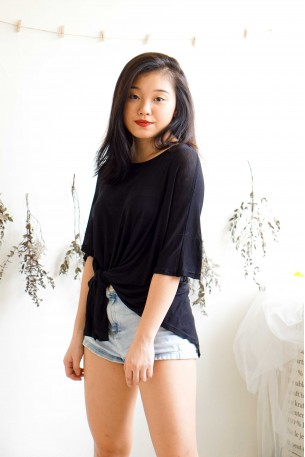 Twisted Beginning Oversized T- Shirt in Black