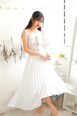 Catching Feelings White Pleated Skirt