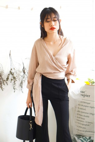 (BACKORDER) French Lady Nude Satin Self Tie Top