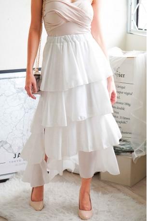 Calm Before Storm White Layered Skirts