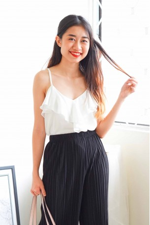 Main Attraction Ruffles Camisole in White