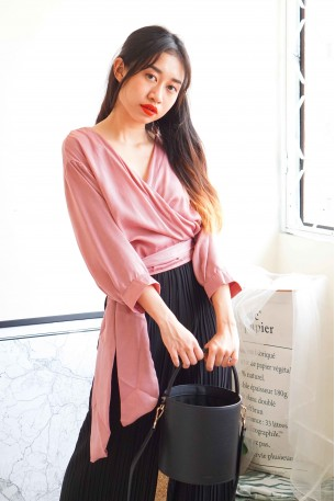 French Lady Pink Satin Self Tie Top