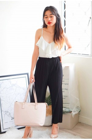 Faith and Love Pleated Pants in Black