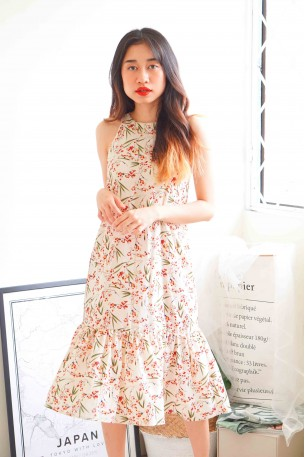 Cherry Blossom Fishtail Dress in Pink